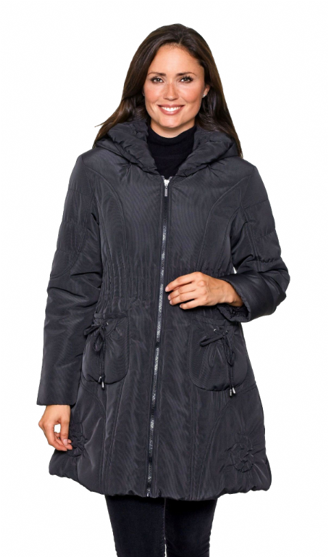 Womens Short Warm Quilted Hooded Black Winter Coat db426